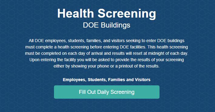 Health Screening for entering a DOE building.