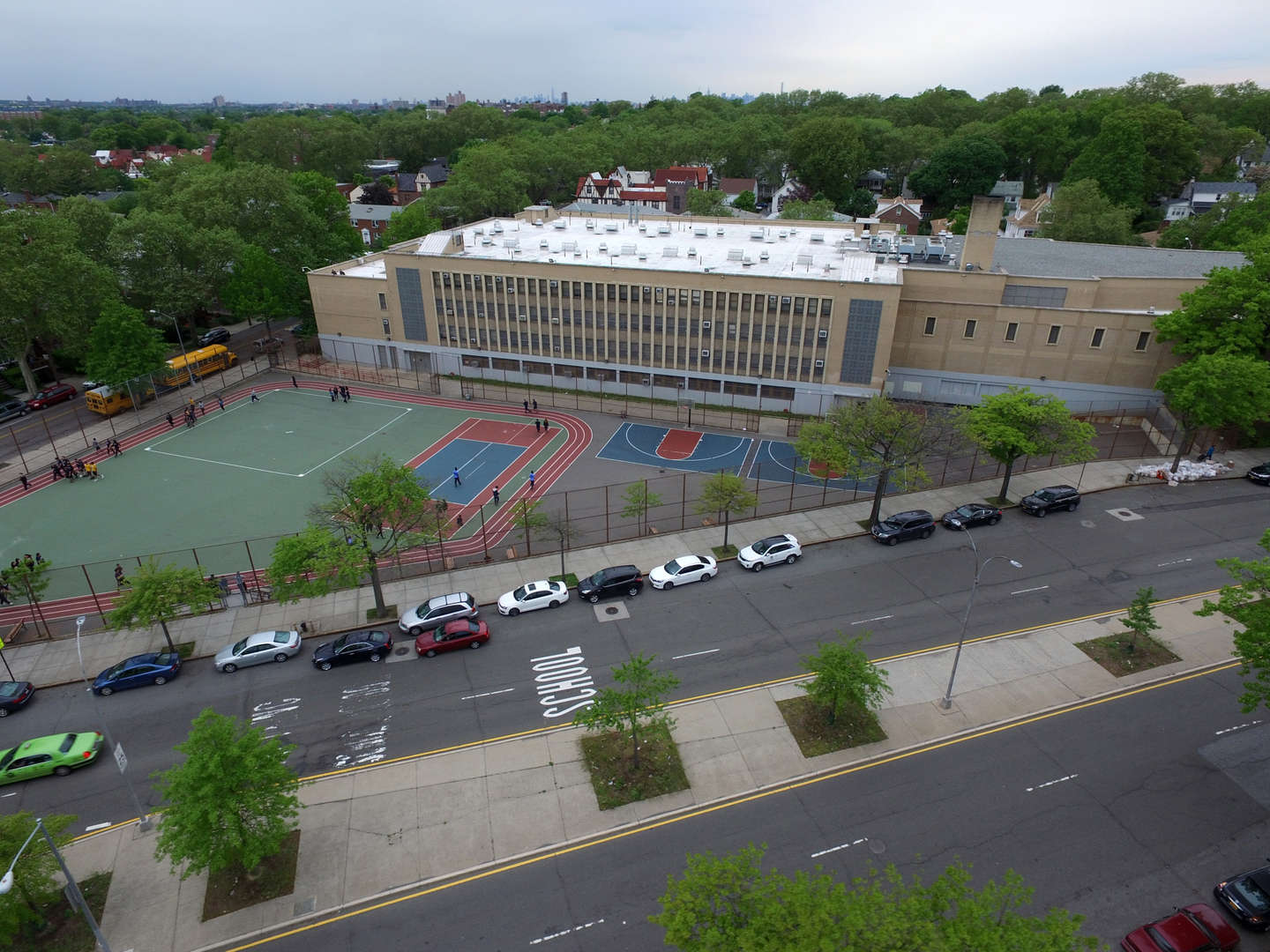 arial view of school building