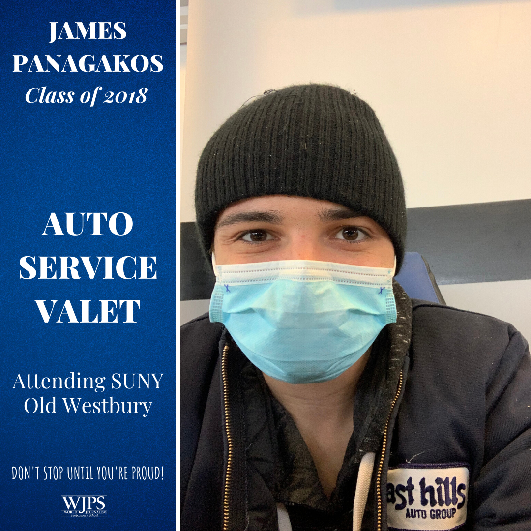 young man in medical face mask wearing East Hills auto dealer jacket