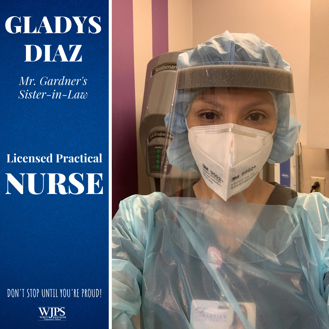 female nurse in personal protective equipment of gown, paper mask, face shield and cap