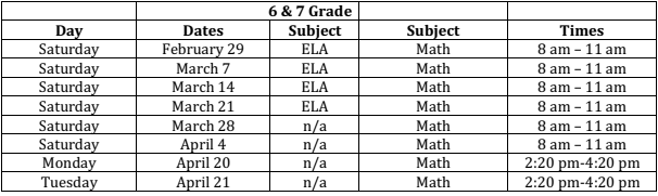 grade 6 and 7 test prep Saturdays in March and April