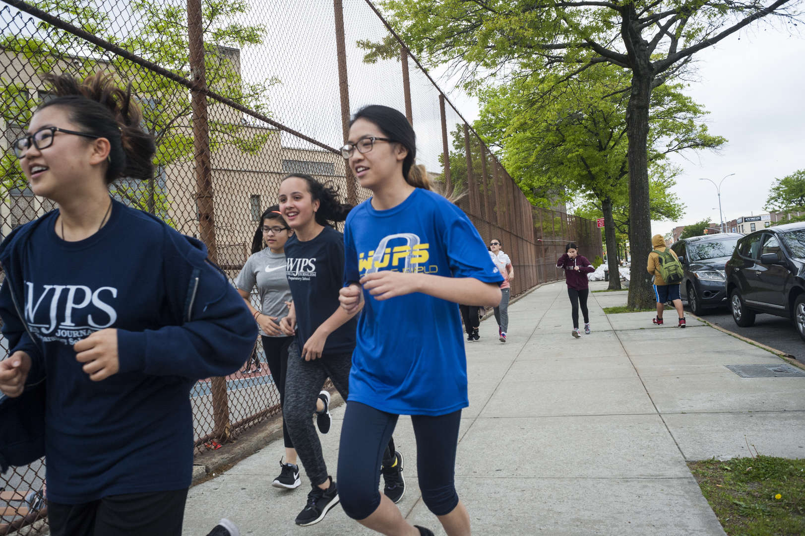 students jogging outside