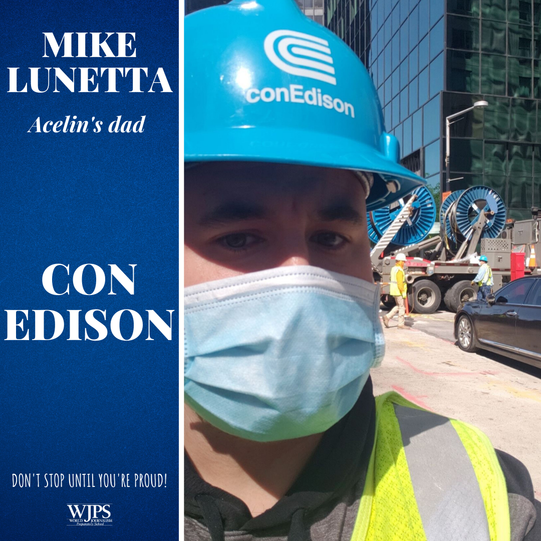 man wearing blue con edison hard hat and medical mask