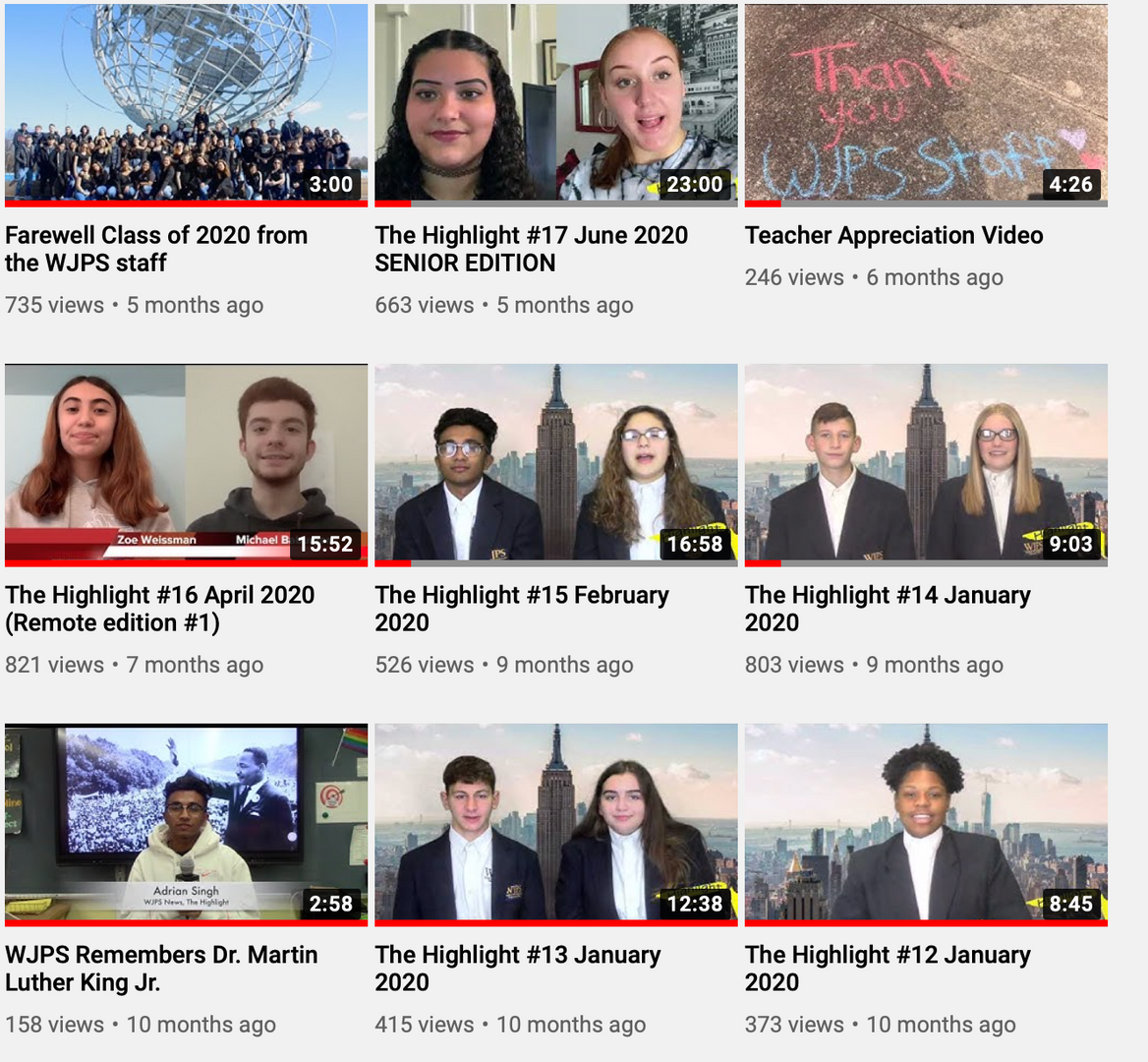 montage of various student news anchors