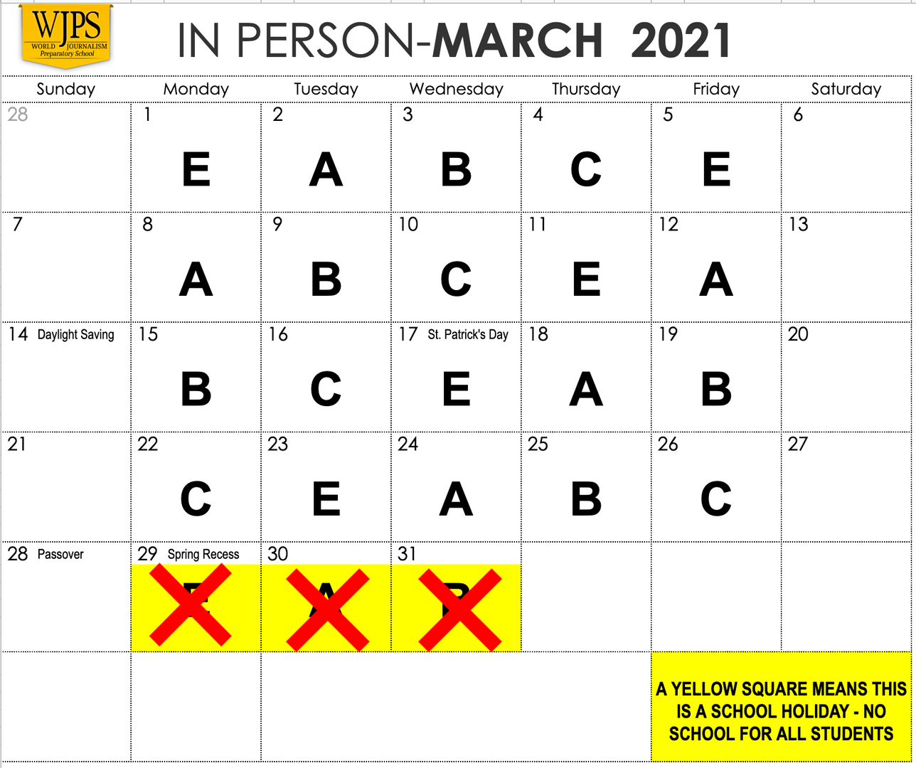 rows and columns for March