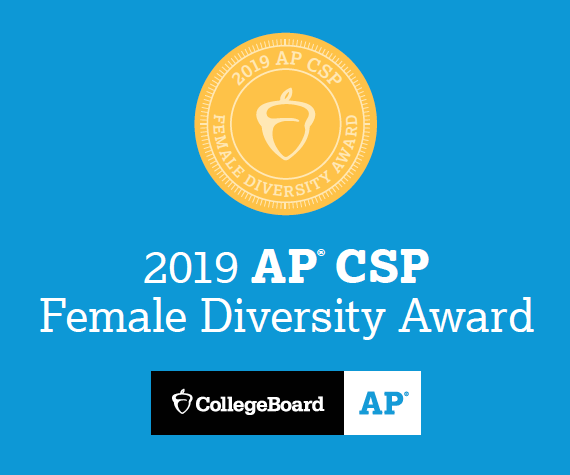 2019 College Board AP Computer Science Female Diversity Award golden acorn on blue background