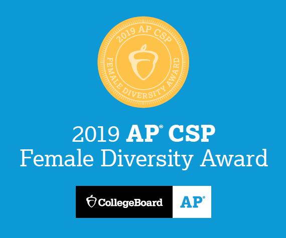2019 College Board AP Computer Science Female Diversity Award golden acorn on blue background