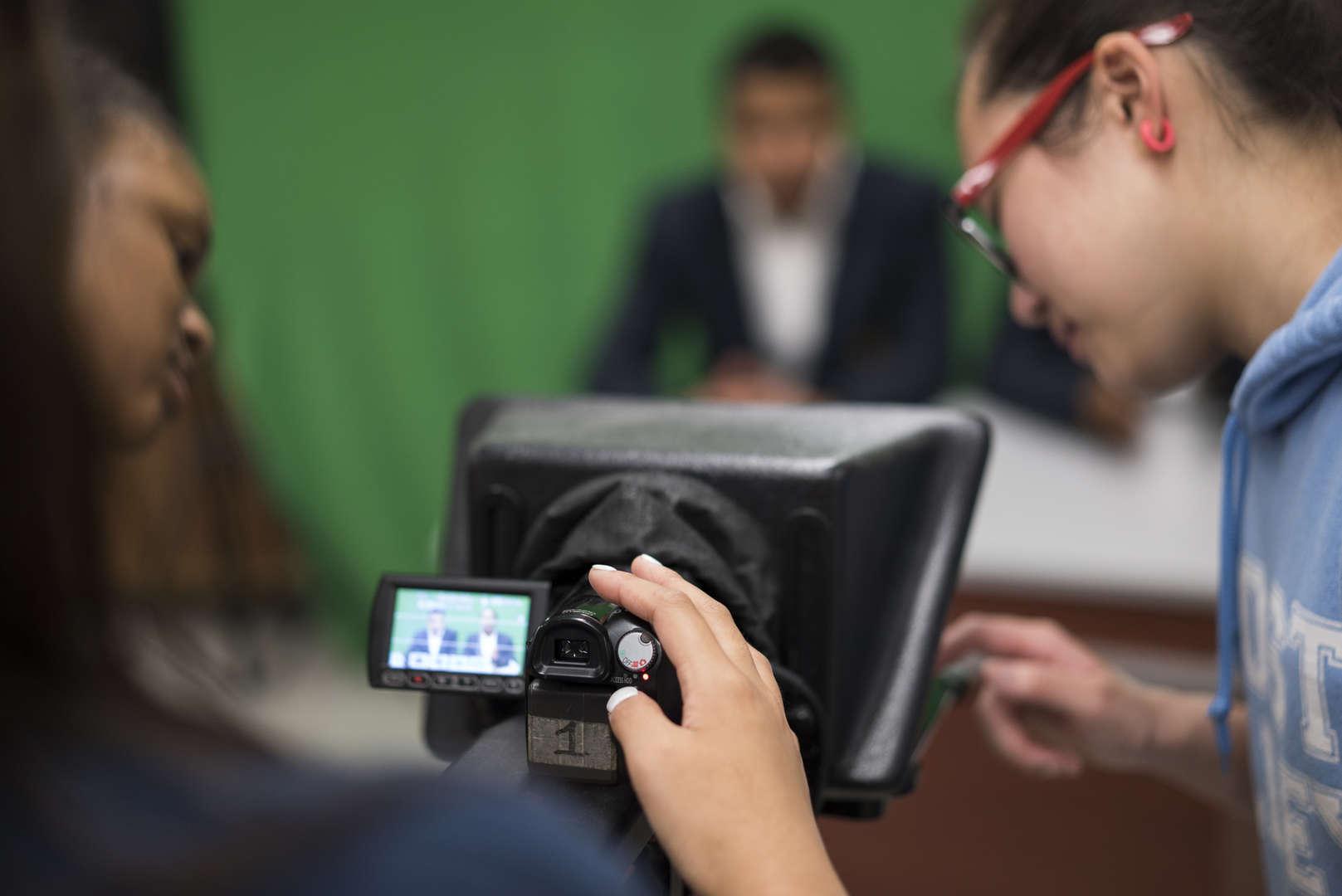 close-up of camera recording broadcast