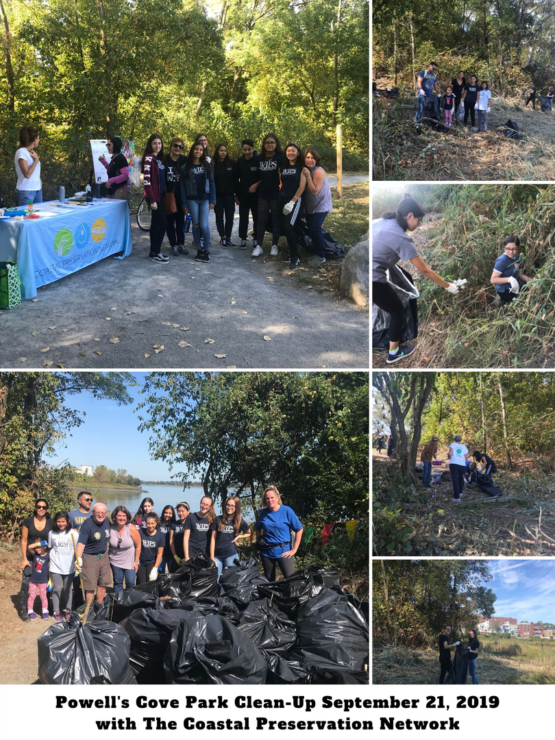 Montage of people cleaning trash from Powell's Cove Park near Little Neck Bay. Large trash bags are filled with garbage.