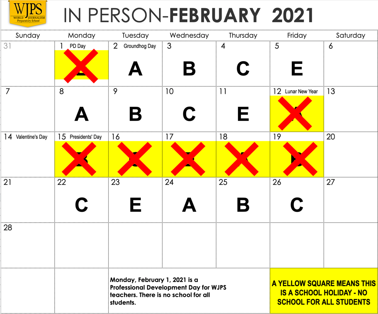 February Calendar with red X on yellow days off