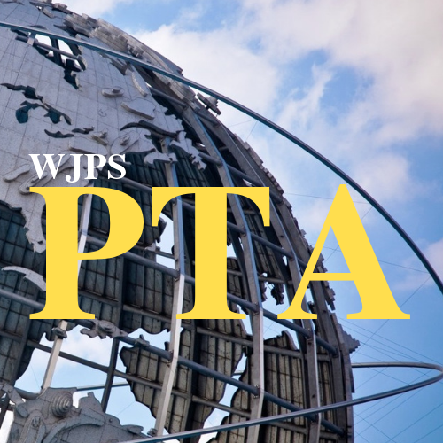 WJPS PTA letters on unisphere background