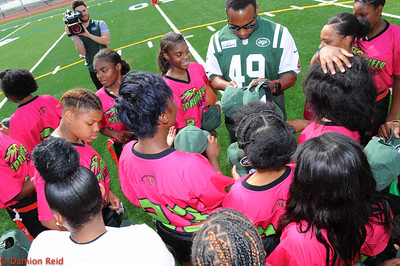 Springfield Eagles Girls Varsity Flag Football Team with member of Jets Football Team