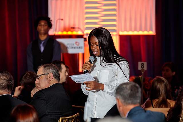 Queens Prep Peer Forward Leader giving speech at Peer Forward's Gala Event