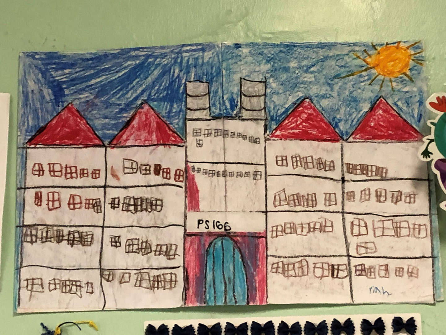 Student Drawing of PS166 Building