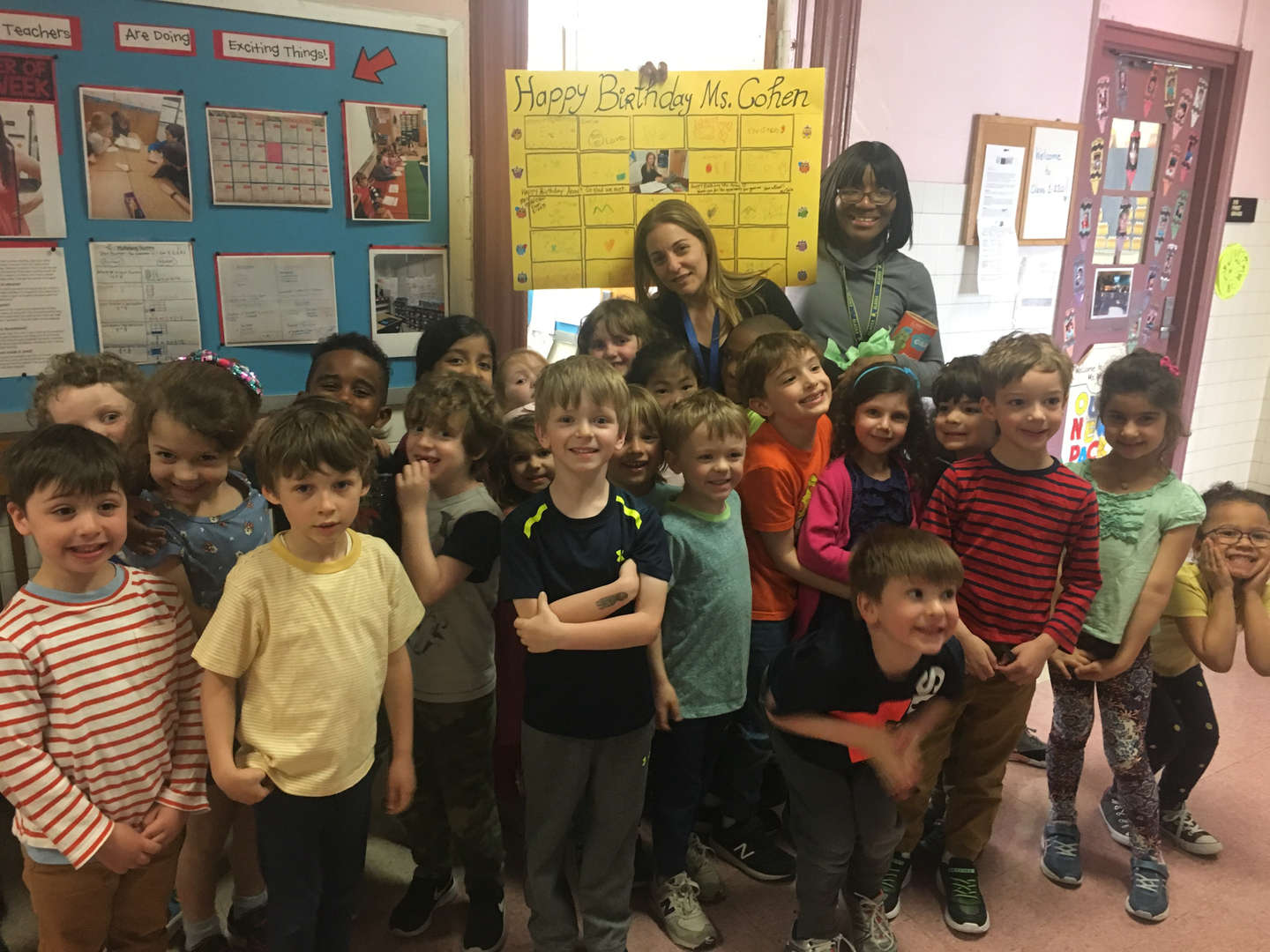 Kindergarten Students with Assistant Principal