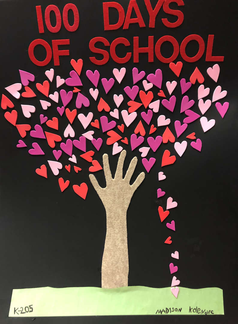 Kindergarten artwork - tree of 100 hearts