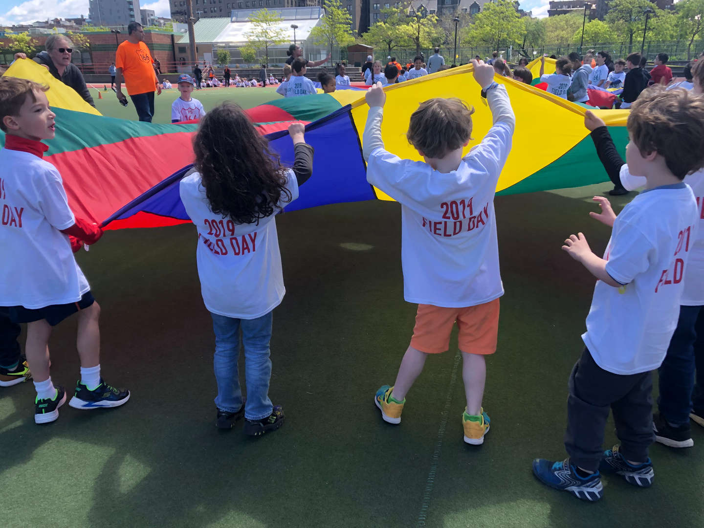 Children playing during field day 2019