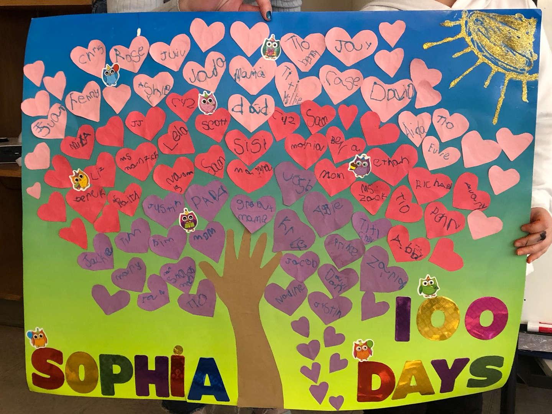 100 heart tree