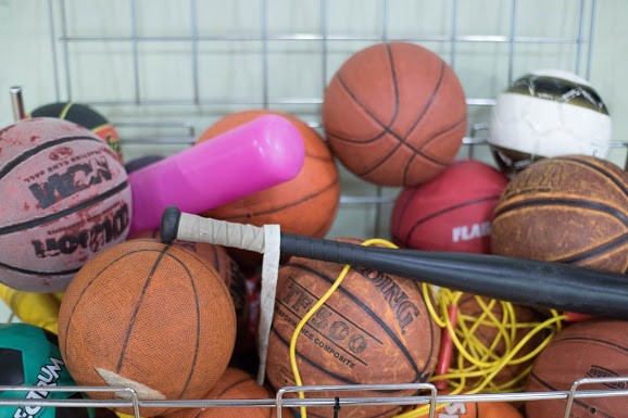 Basketballs and Gym Equipment