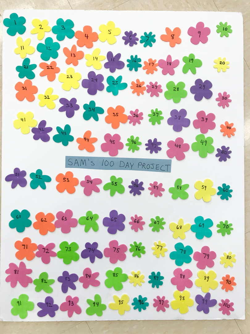 100 day poster with flowers