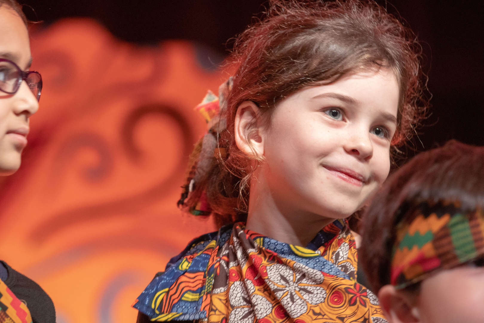 First Grade Girl in Ethnic Costume for Holiday Show