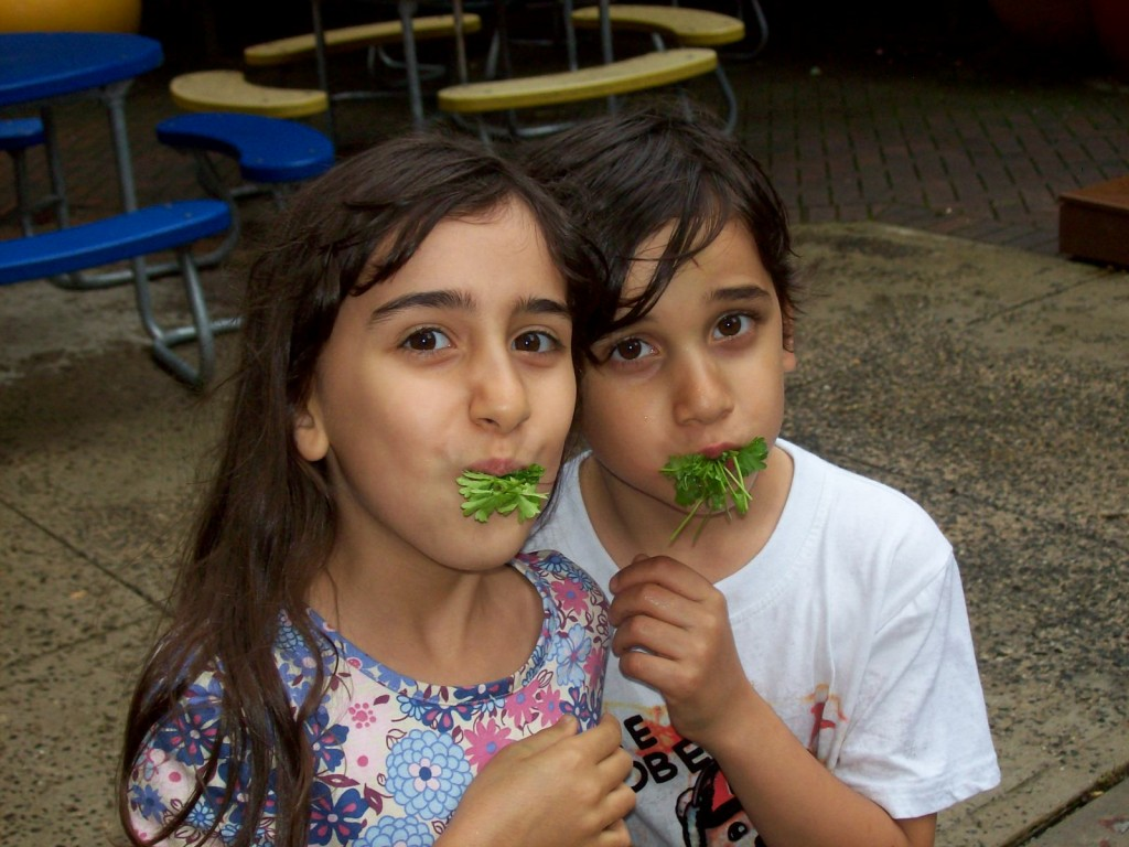 Two Children holding Herbs in the School Garden