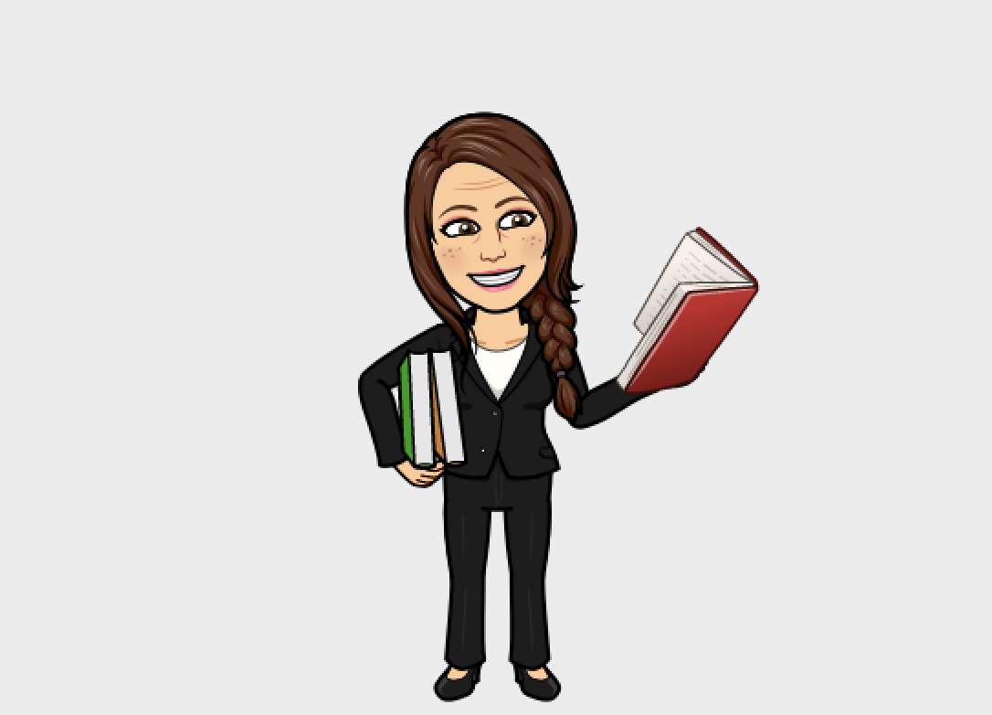 AP Gio's bitmoji is wearing black and holding a bunch of books!