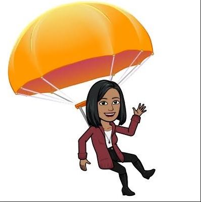 Alex E. is wearing maroon and gliding downward under a parachute.