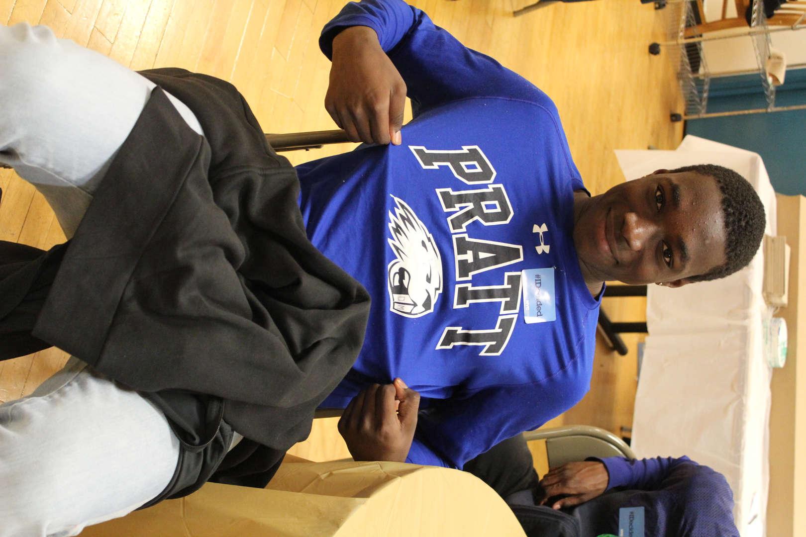 Student posing jersey shirt
