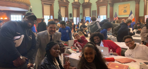 CS teacher Mr. Saint-Germain and WINGS' students competing in the NYCDOE 2019 Hack League Finals along with NYCDOE Chancellor Richard A. Carranza.