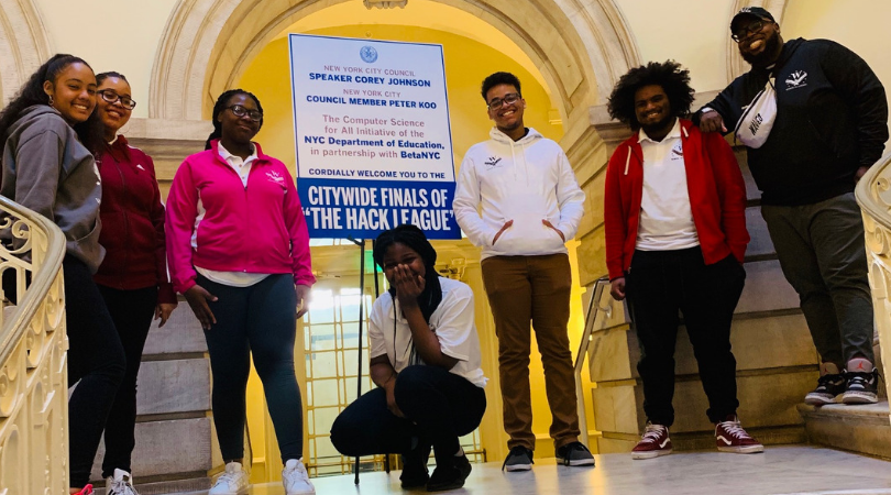 WINGS CS Hack Team at the NYCDOE 2019 Hack Finals at City Hall.