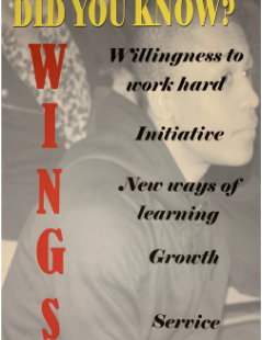 Do you know what WINGS stands for?  WINGS stands for: Willingness to Work Hard, Initiative, New Ways of Learning, Growth, Service.