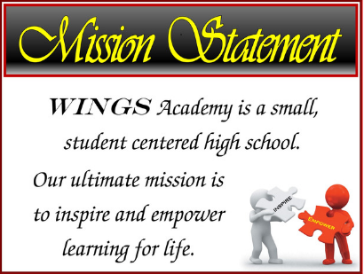 WINGS Academy Mission Statement: WINGS Academy is small, student centered high school.  Our ultimate mission is to inspire and empower learning for life.