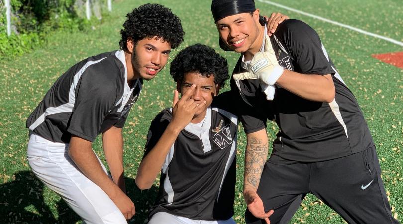 Three Baseball player posing together