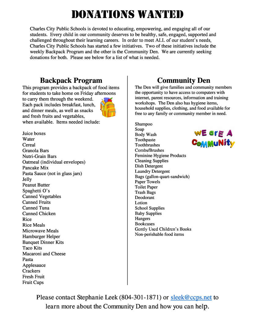 Donation List for Den and Backpack Programs