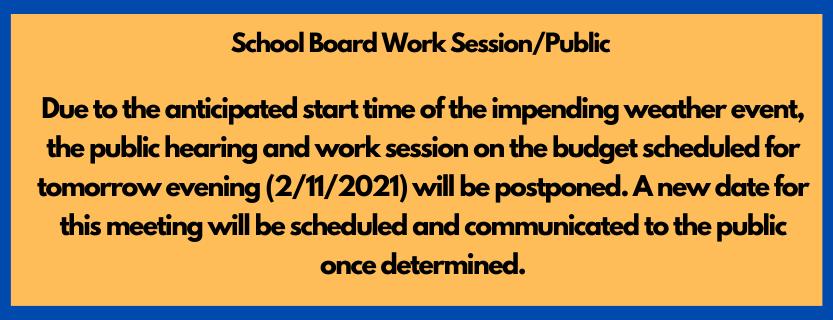 SB Work Session Postponed