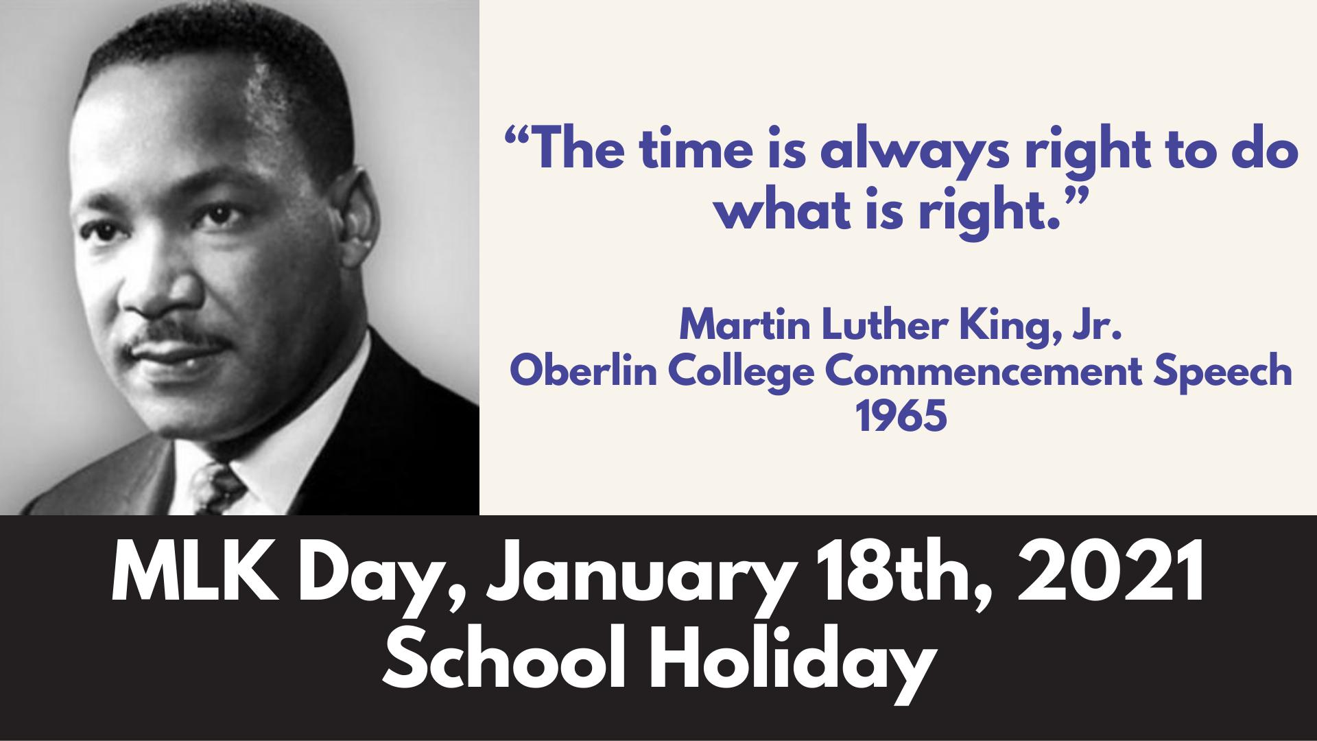 MLK Holiday January 18 2021