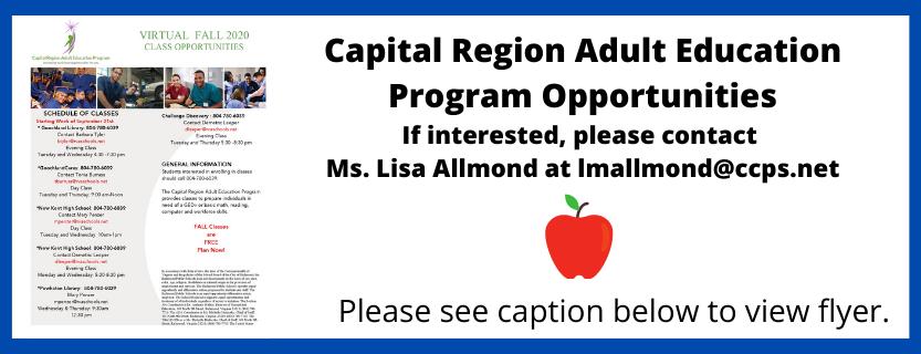 Capital Region Adult Education Program Opportunities