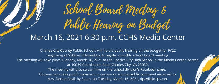 School Board Meeting and Public Hearing on Budget