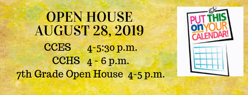 Open House Dates August 28, 2019