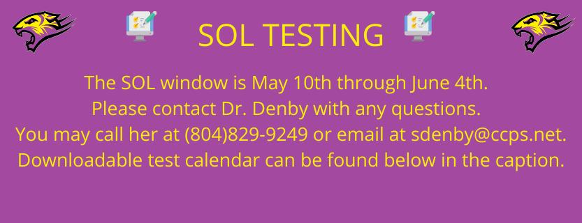 SOL Testing May 10- June 4, 2021