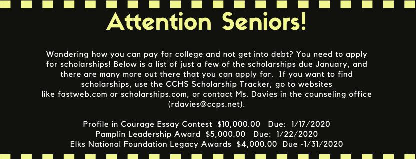 Senior Scholarships for January
