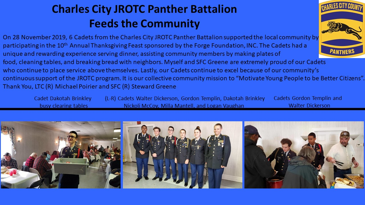 CCHS JROTC helps with annual Thanksgiving Dinner