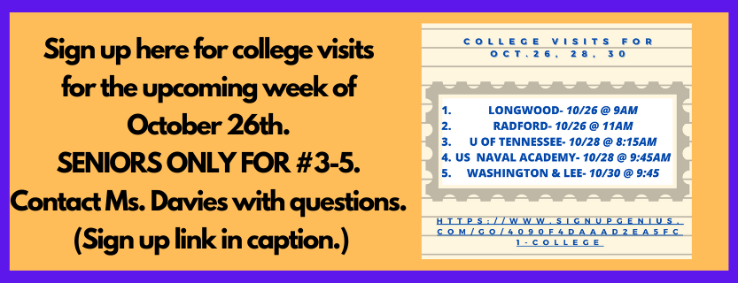 College Visits for Week of Oct. 26th