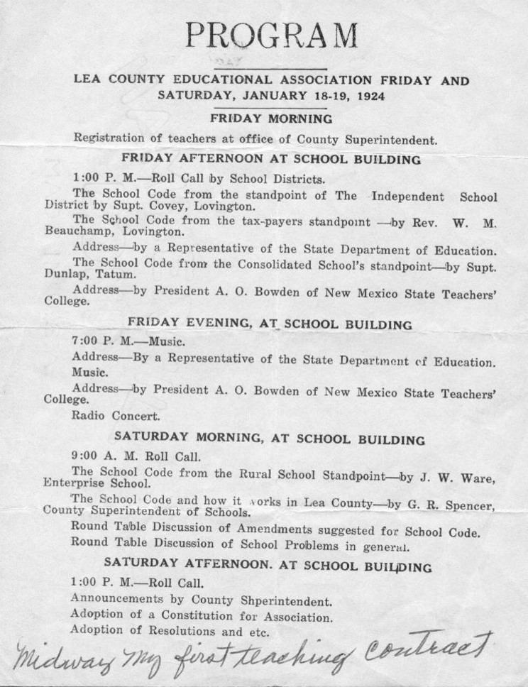 1924 Lea County Educational Program