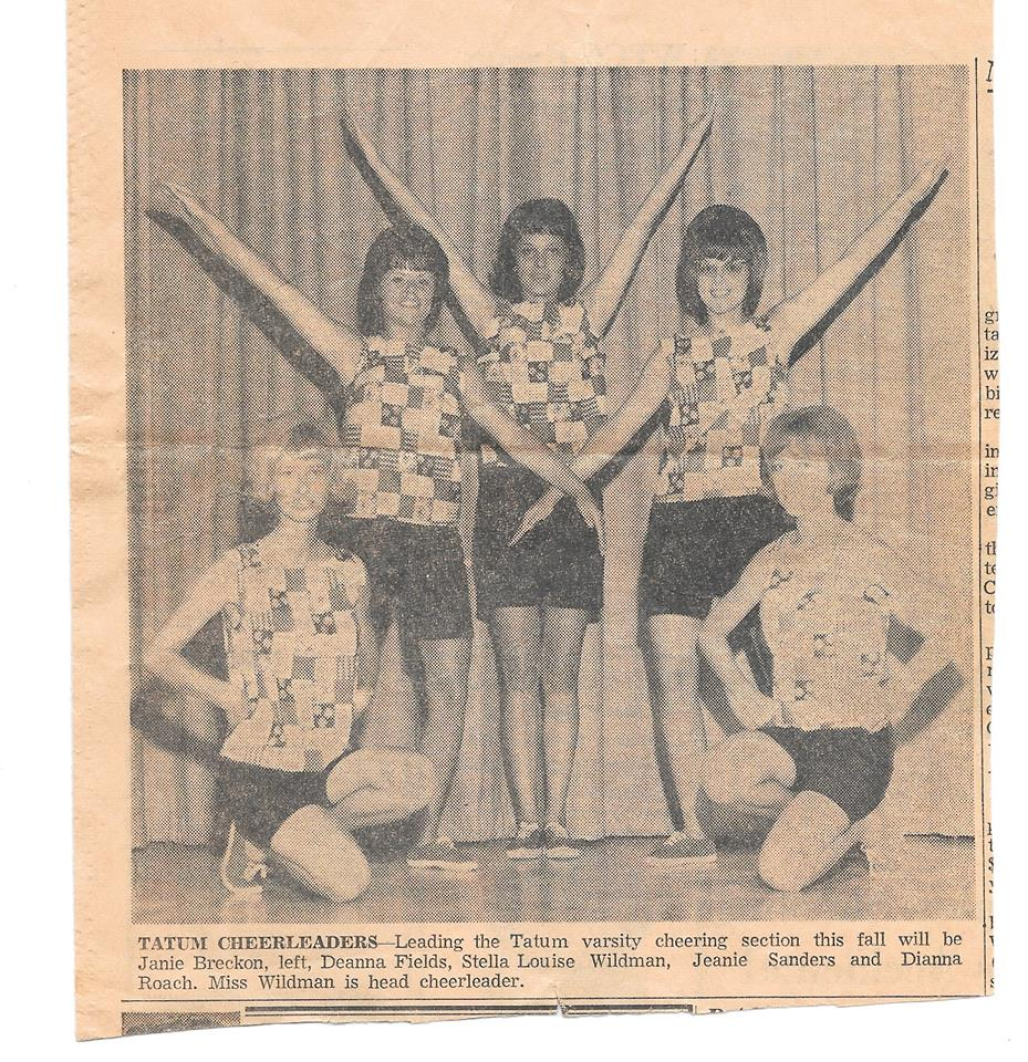 Tatum Cheerleaders c1966 -  Janie Breckon, Deanna Fields, Stella Louise Wildman, Jeanie Sanders and Dianna Roach