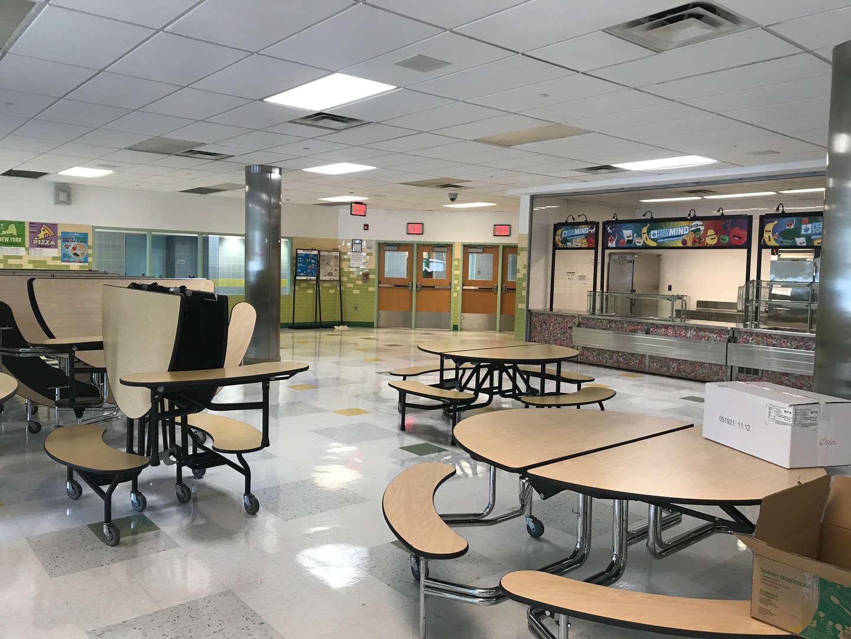 School cafeteria seating area.