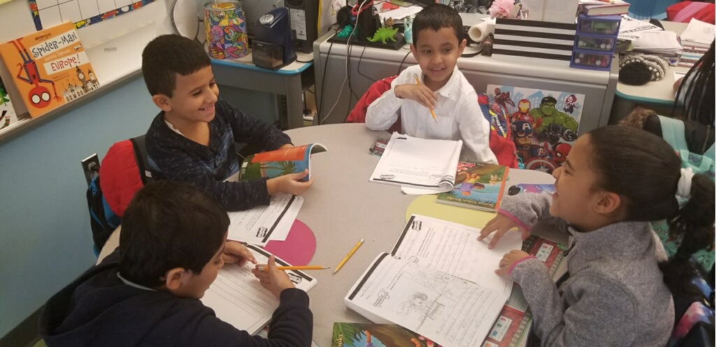 Students engaged in group work.