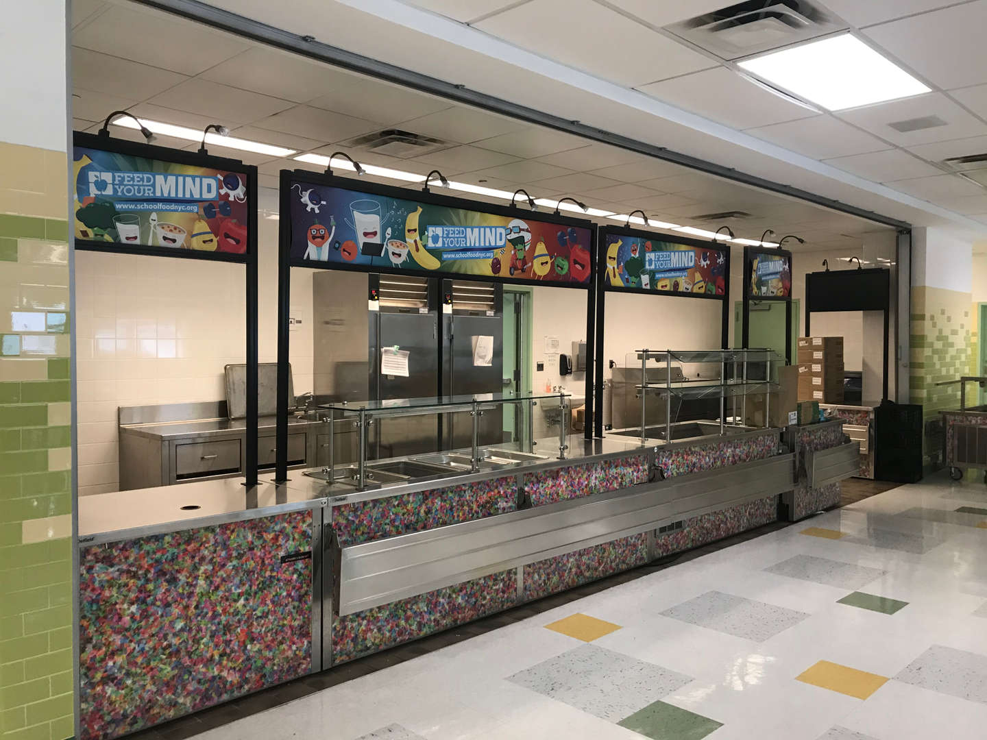 School cafeteria food station.