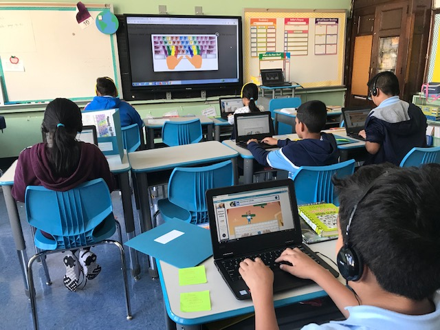Students practice touch typing.